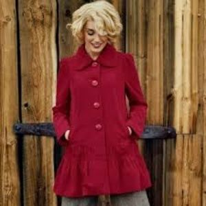 Anthropologie Elevenses Grable Red Corduroy Coat 6